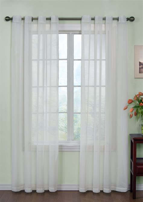 White Sheer Kitchen Curtains by Curtain Fresh Sheer Grommet Curtains White View All