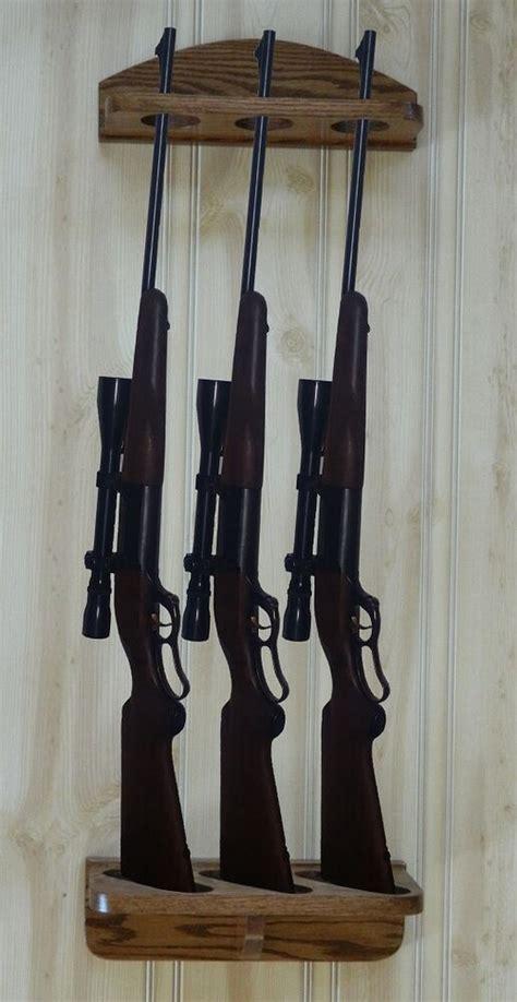 gun rack  gun vertical wall display solid oak ebay