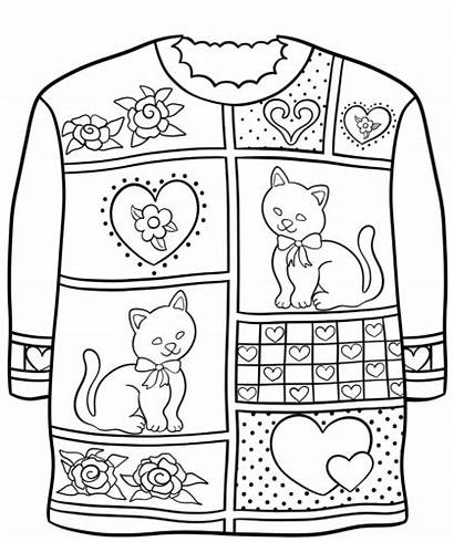 Sweater Ugly Coloring Christmas Sweaters Pattern Pages