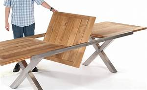 Gartentisch Edelstahl Holz : ausziehbarer gartentisch mit einklappbarer erweiterungsplatte in der tischmitte tischplatte ~ Frokenaadalensverden.com Haus und Dekorationen