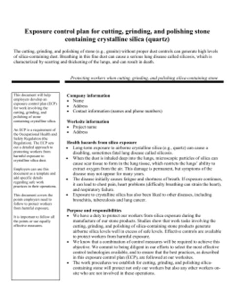 osha silica exposure plan template developing a silica exposure plan