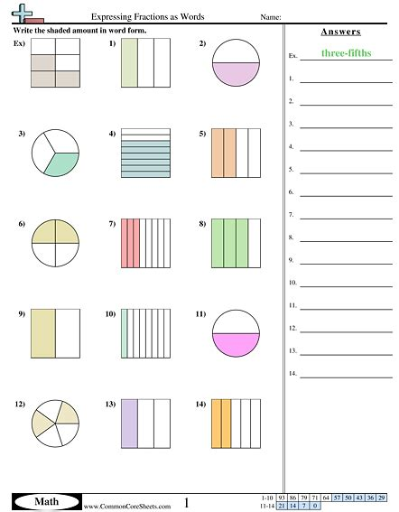 Naming Fractions Worksheets  Fraction Number Line Sheets3rd Grade Fractions Worksheets Free