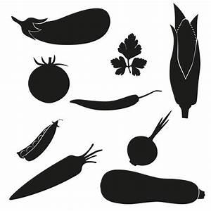 set of icons vegetables vector illustration black ...