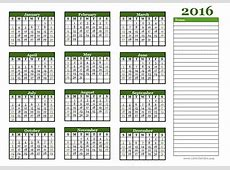 2016 Yearly Calendar Free Printable Templates