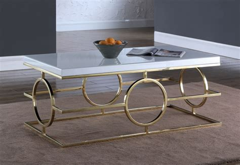 Gold coffee tables modern simple living room furniture luxury white marble top gold large round coffee tables set metal furniture. Cesario Modern White Glass Top Coffee Table w/Shaped Gold Stainless Steel Base