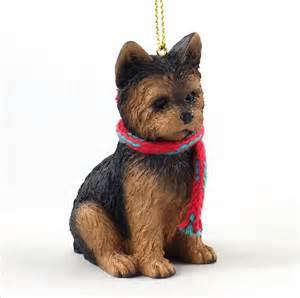 yorkie ornament scarf figurine puppy cut