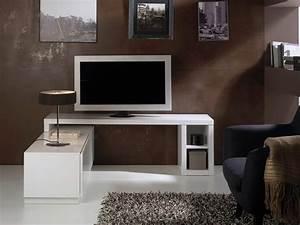 Meuble Tv D Angle Blanc : meuble tv modulable axe laqu blanc meuble vidence d co paris ~ Teatrodelosmanantiales.com Idées de Décoration