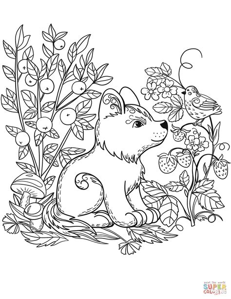 puppy dog   forest coloring page  printable coloring pages