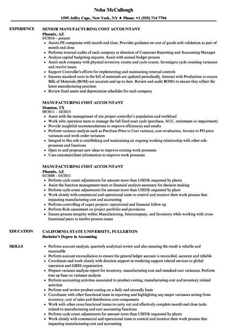 manufacturing cost accountant resume sles velvet