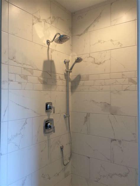 Porcelain Tile Bathrooms by Shaw Maximus Quot Calacatta Quot Porcelain Tile For Shower