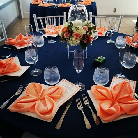 navy blue and orange wedding table decorations modern