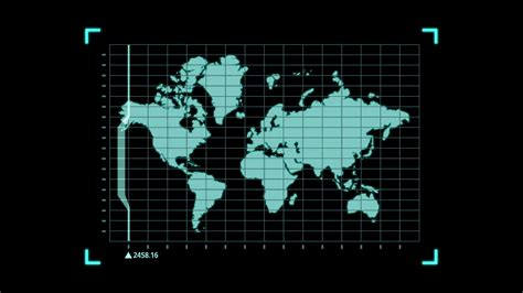 Hi-tech User Interface Head Up Display Earth Map For