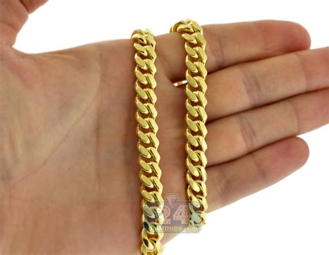 yellow sterling silver mens miami cuban chain  mm