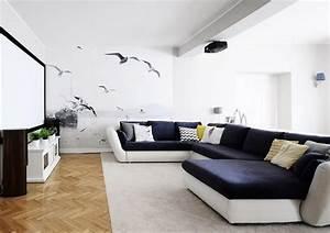 Canape gris moderne 55 modeles dangle ou droits fonces for Tapis kilim avec canapé d angle bleu nuit