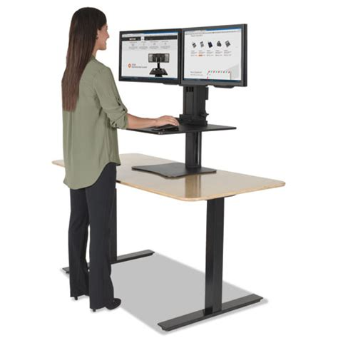 Dual Monitor Standing Desk Converter by Victor Dc350 High Rise Dual Monitor Sit Stand Desk