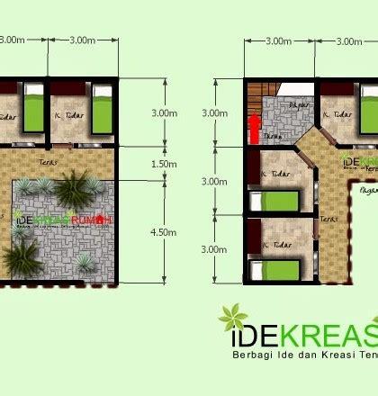 desain layout denah kos kosan  lantai  lahan