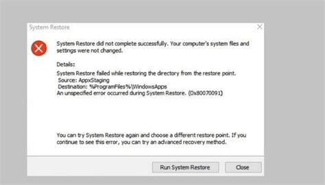 how to fix system restore error 0x80070091