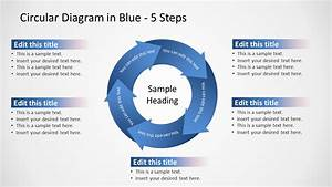 Circular Arrows 5 Steps Powerpoint Diagram