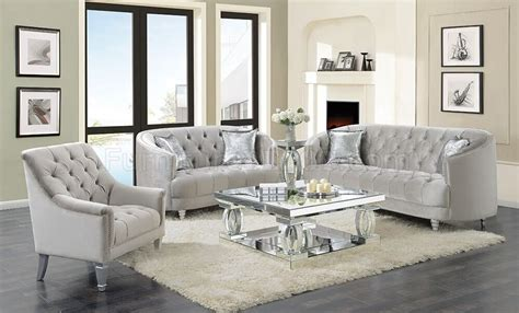 Loveseat And Chair Set by Avonlea Sofa 508461 In Grey Velvet By Coaster W Options