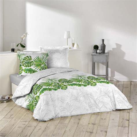 parure housse de couette amazone tropicale vert  blanc  coton jk markets