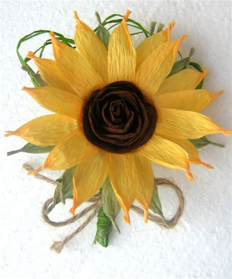 Sunflower Boutonniere Crepe Paper Flowers Wedding