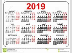 2019 Compact Grid Pocket Calendar First Day Monday Stock