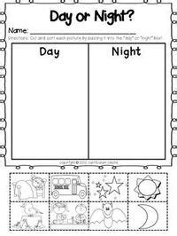 daytime  nighttime activities worksheets  kindergarten