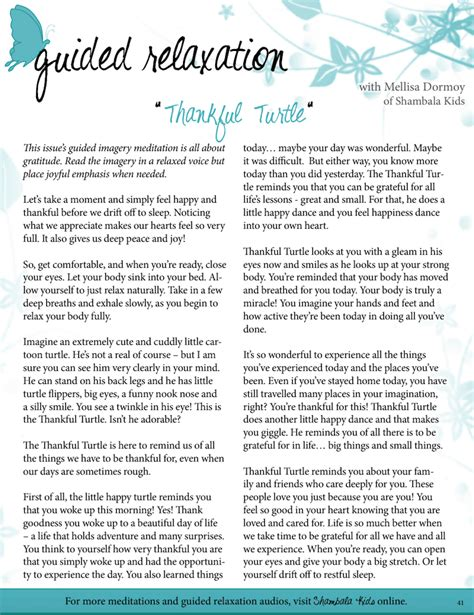 Guided Relaxation Script The Thankful Turtle