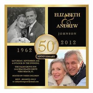 elegant 50th wedding anniversary photo invitations 525 With print your own 50th wedding anniversary invitations