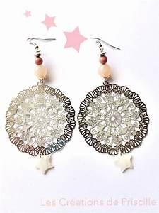 Grosse Boucle D Oreille : boucles d 39 oreilles grosse estampe argent e perles rose ~ Melissatoandfro.com Idées de Décoration