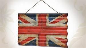 Deco Murale Vintage : d coration murale drapeau anglais vintage sur t le ondul e ~ Melissatoandfro.com Idées de Décoration