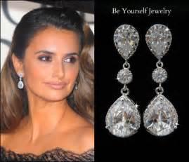 bridesmaid jewlery bridal earrings cubic zirconia teardrop earrings sparkly inspired jewelry sterling