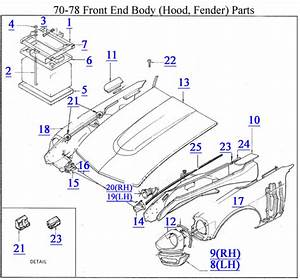 Car Fender Diagram : 70 78 front end body hood fender parts z car source ~ A.2002-acura-tl-radio.info Haus und Dekorationen