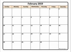 February 2019 calendar * February 2019 calendar printable