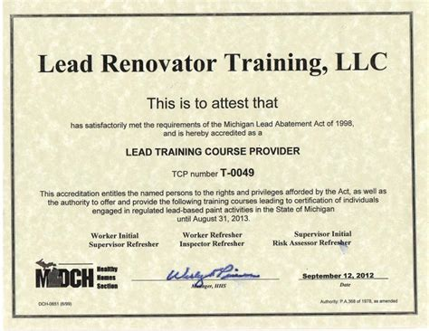 lead renovator training llc services classes offered