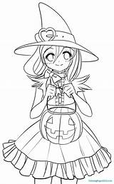 Witch Coloring Halloween Pages Happy sketch template