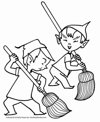 Coloring Santa Elf Pages Christmas Elves Dirty