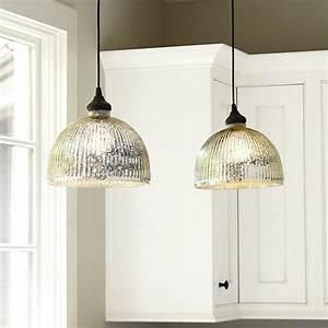 Mercury glass pendant shade adapter recessed can light