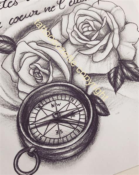 tatouage rose boussole tattoos pinterest tatouage