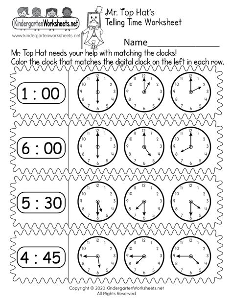 learn clocks worksheet  kindergarten learning