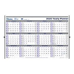 blueline net carbon erasable yearly wall calendar