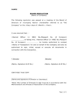 company resolution form 53 printable board resolution sle forms and templates