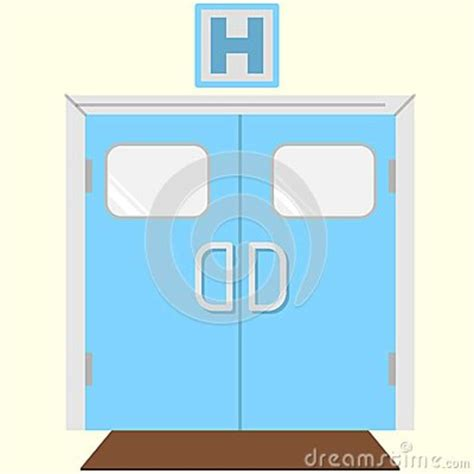 hospital door signs flat color icon for hospital entrance stock illustration