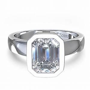 Emerald cut bezel set diamond engagement ring in palladium for Emerald cut diamond wedding ring sets