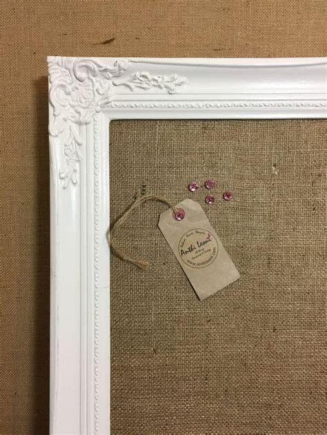 shabby chic notice board framed wedding table planner extra large shabby chic hessian pin board cork board burlap