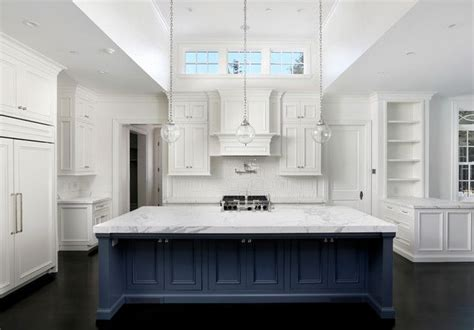 Kitchen Backsplash Pictures Ideas - navy blue kitchen islands classic or trendy