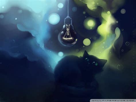 black cat scared painting  hd desktop wallpaper