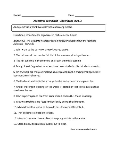 adjectives worksheets for 6th grade adjectives worksheets regular adjectives worksheets