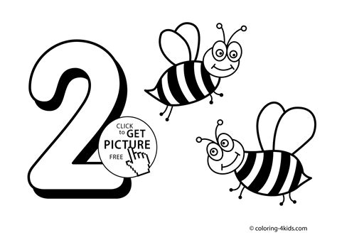 2 Numbers Coloring Pages For Kids, Printable Free Digits