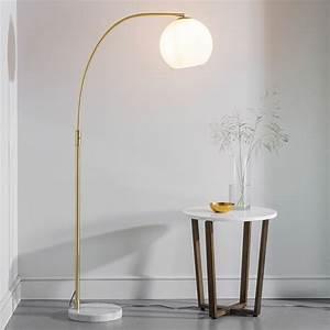Dot, -, Mid, Century, White, Marble, U0026, Opal, Globe, Floor, Lamp